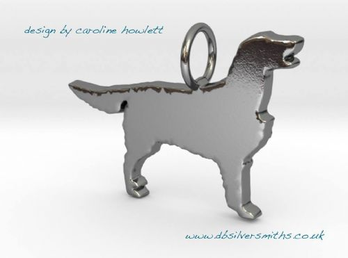 Flatcoat/ Flatcoated Retriever dog silhouette pendant sterling silver handmade by saw piercing Caroline Howlett Design
